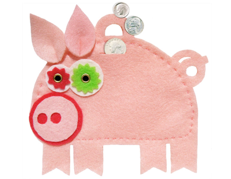 Ms. Piggers Pig Feltie bank and gift pouch